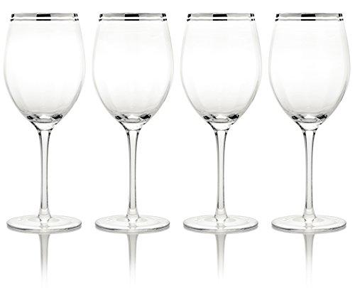 Mikasa 'Haley' steelloze glazen met handbeschilderde platinarand, 4 stuks Wijnkelk kleurloos