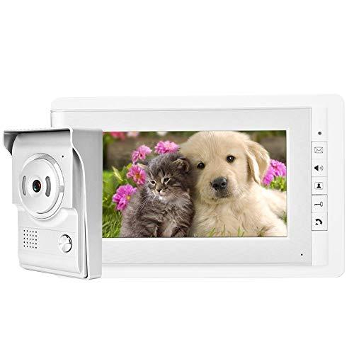 """Videoportero, Sistema de Monitor de intercomunicación, Timbre de Video 7"""" con visión Nocturna, Videoportero Manos Libres, Tonos de Llamada múltiples, para Hogar/Apartamento/Fábrica/Hospital(EU)"""