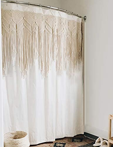 Yokii Macrame Shower Curtain, 72-Inch Ivory Fabric Boho Bathroom Shower Curtain Sets Inset Hand Braided Vintage Cotton Macrame Curtain Decor, Heavy Weighted & Waterproof (Natural Cotton, 72 x 72)