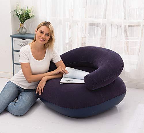 MHUI Aufblasbarer Loungesessel, zusammenklappbare Chaiselongue Air Lazy Sofagarnitur Beflockbare Couch Tragbares aufblasbares Loungesofa, mit manueller Luftpumpe,Blau