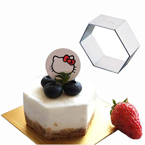 Stainless Steel Hexagon Cakes Tray Baking Tools,Nonstick Cake Pan Baking Mould Pastry Kitchen Bakeware(8 in)