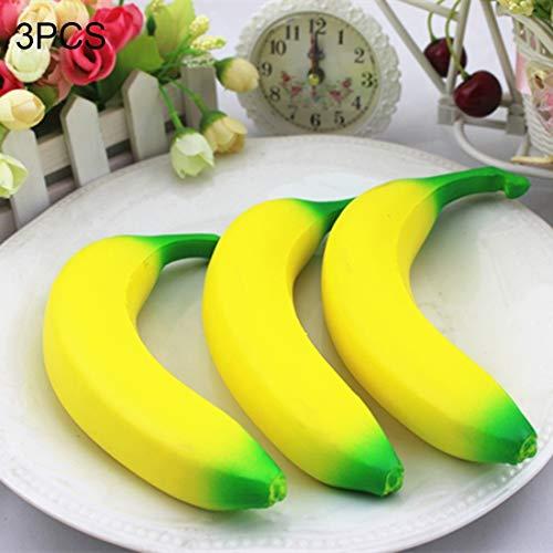 Hmg 3 PCS Artificial Simulación Realista Fruta PU Plátano Modelo Jugar Juego de Alimentos for niños Hogar Casa Cocina Fiesta Decoración Escritorio Ornamento