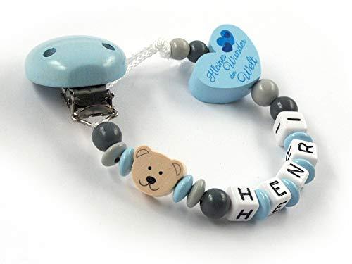 Schnullerkette mit Namen Jungen - blau - grau - Bär - Teddy- Teddybär - Herz - Kleines Wunder der Welt - Holz - Silikonring Baby - Taufgeschenk - Junge