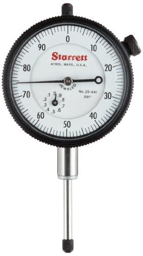 "Starrett Dial Indicator, 25-441J – Lug On Center Back, Jeweled Bearings, 0-100 Reading, 0 - 1"" Range, 0.001"" Graduation, 0.375"" Stem"