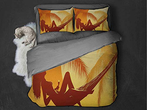 Toopeek Holiday hotel luxury bed linen Silhouette of Sexy Woman Lying in a Hammock at Majestic Sunset View Dream Print polyester - soft and breathable (Queen) Burnt Orange
