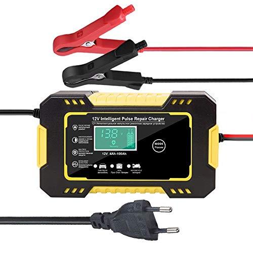 CUIJU Cargador de batería de Coche y Motocicleta 12V 6A Cargador de batería de Plomo-ácido con reparación de Pulso automático Inteligente (Amarillo)