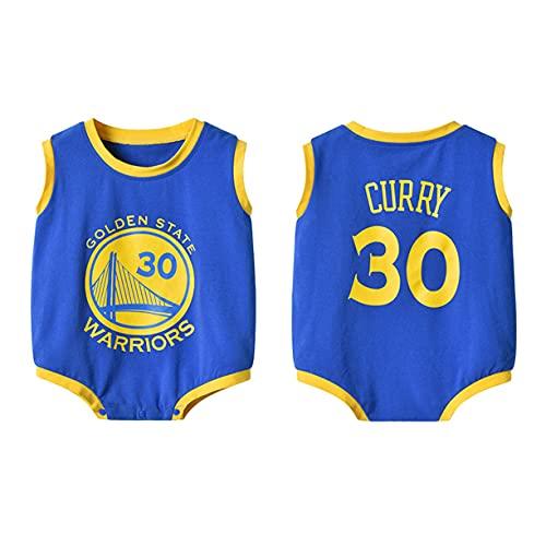 DHRBK Mamelucos para recién Nacidos NBA Stephen Curry # 30 Pijama de Verano Onesies para bebés y niñas Pijamas de Manga Corta para 0-24 Meses