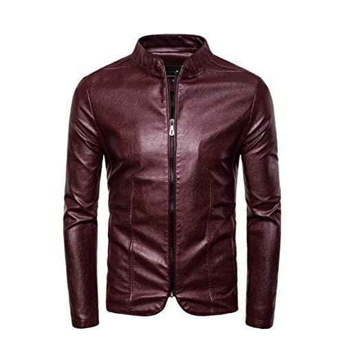 Soporte de Moda for Hombre Collar con Cremallera Cardigan PU Jacket Estilo de Motocicleta Chaqueta Casual Chaqueta Multi-Bolsillo (Color : Red, Size : 4XL)