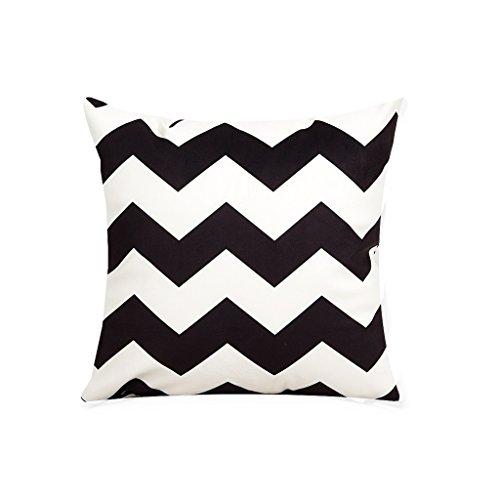 Oreiller Court en Peluche, Motifs ondulés, canapé de Bureau, Coussins, Lavable (45 * 45cm) Noir, Blanc (Color : 2)