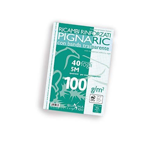 Pigna 02222375M, Ricambio con Banda Rinforzata, Rigatura 5M, quadretti 5 mm per 2° e 3° elementare, Carta 100g/mq, Pacco da 40 Fogli