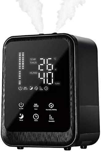 Ultraschall Luftbefeuchter 4,5 L.   Fernbedienung   Luftreinigungsgerät   Luftreiniger   Eingebautes Hygrometer   LED-Touch-Display   12h Timer   Energiesparmodus Nachtmodus   Warm oder Kaltfunktion