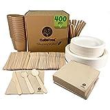 Vajilla desechable de 400 Piezas para 25 Personas. Vajilla ecológica de caña de azúcar. Incluye...