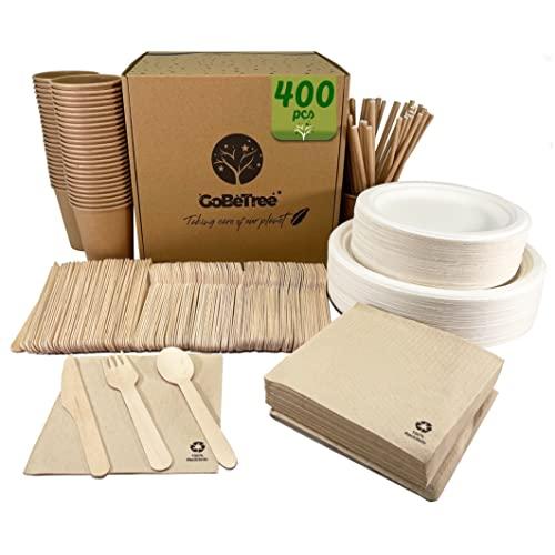 Vajilla desechable de 400 Piezas para 25 Personas. Vajilla ecológica de caña de azúcar. Incluye 100 Platos, 150 cubiertos de madera, 50 vasos de carton kraft con pajitas y 50 servilletas