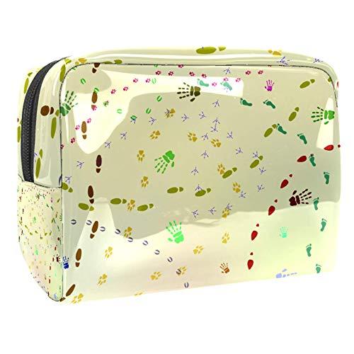 Bolsa de maquillaje portátil con cremallera bolsa de aseo de viaje para las mujeres práctico almacenamiento cosmético bolsa huellas animales y zapatos impresiones