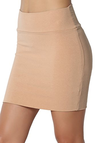 TheMogan Junior's Stretch Cotton Jersey Lined Bodycon Tube Mini Skirt Khaki M