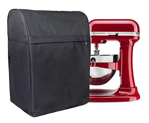 Staubschutzhülle für Standmixer, mit 3 Taschen, passend für KitchenAid-Kippkopf 4,5–6 Quart,Standmixer, staubdichte Abdeckung für Sunbeam, Cuisinart, Hamilton Mixer, schwarz