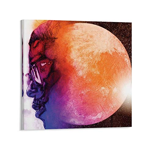 Kid Cudi Man on The Moon Art Music Hip Hop Poster Wall Art Home Wall Decorations for Bedroom Living Room Oil Paintings Canvas Prints Frame-style120x20inch(50x50cm)
