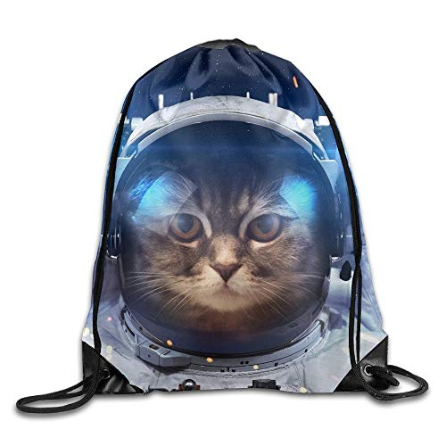 yiyuanyuantu Astronaut Space Suit Cat Gym String Bag Drawstring Backpack
