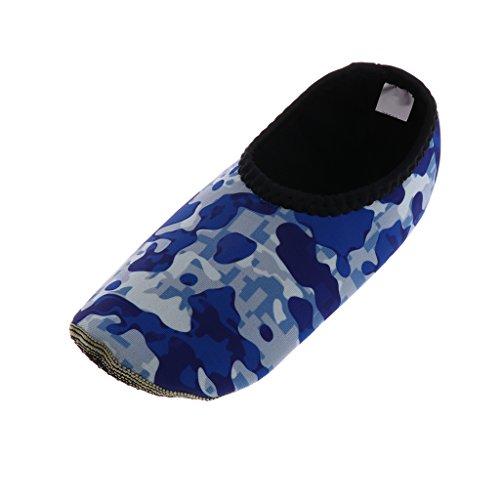 Fenteer Calcetines de Buceo para Ejercicios Aeróbicos y Natación para Deportista - Azul Blanco Camo, S
