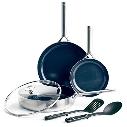 Blue Diamond Cookware Ceramic Nonstick Triple Stainless Steel Induction Safe Pots and Pans Set, 6...