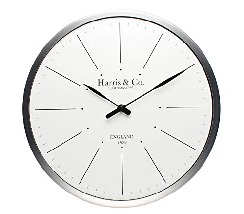 Harris & Co. Clockmasters Metal Silent Sweep Noiseless Technology Wall Clock (White)