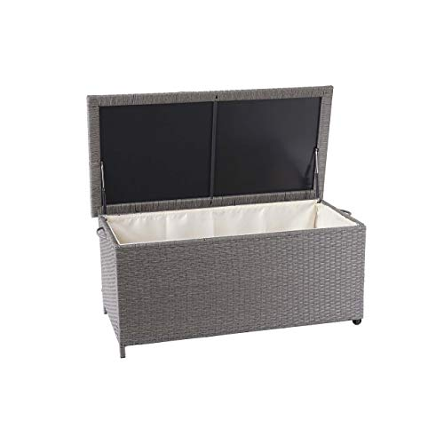 Mendler Poly-Rattan Kissenbox HWC-D88, Gartentruhe Auflagenbox Truhe ~ Premium grau, 51x100x50cm 170l