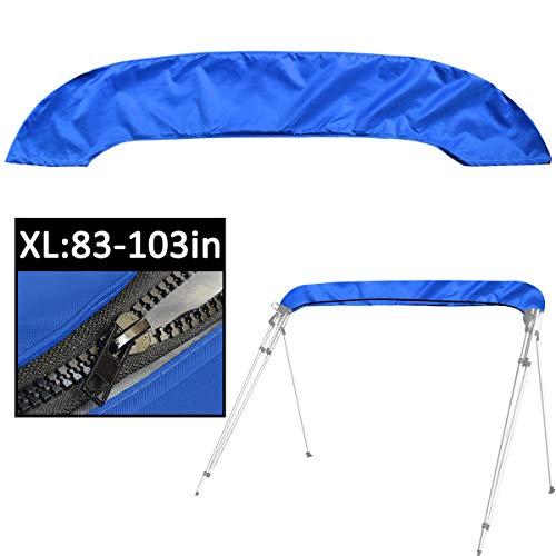 Funda Bimini con Cremallera,Adaptable a Todo Tipo de toldos Bimini de 3 y 4 Arcos,evita eficazmente la erosión de los rayos UV, el agua del mar y la brisa del mar en verano (azul XL:83-103IN)