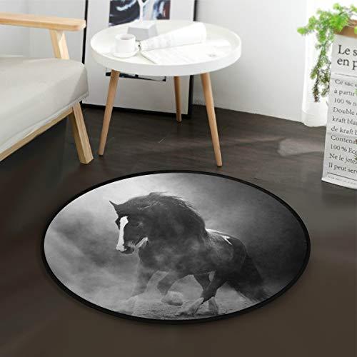 Mnsruu Tapis rond vintage en forme de cheval dans la poussière pour salon chambre à coucher Diamètre 92 cm