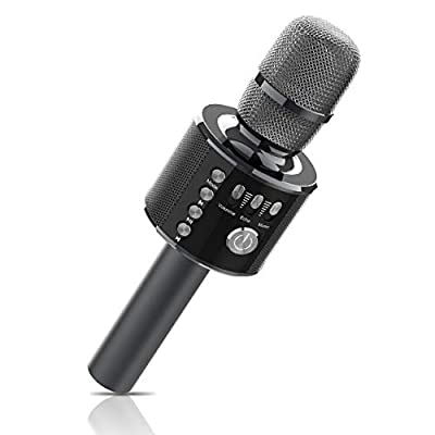 Karaoke Microphone, Xpreen Bluetooth Microphone - Portable Kids Microphone, Wireless Karaoke Machine for Home Party, Gift for Kids & Adults (Black)