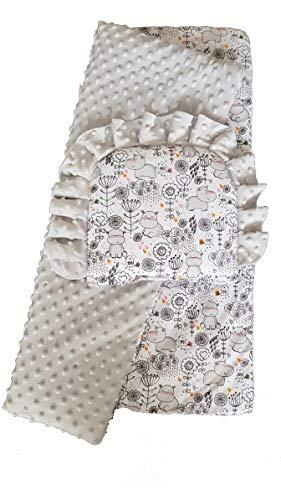 "BlueberryShop - Moisés reversible para cochecito de bebé, 2 piezas, juego de edredón y almohada (29,5"" x 25.5"") (0-12 m) (75 x 65 cm) Multi Hipopótamo gris Talla:75 x 65 cm"