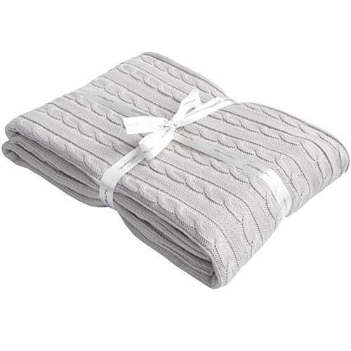 NTBAY 100% Cotton Cable Knit Throw Blanket Super Soft Warm...