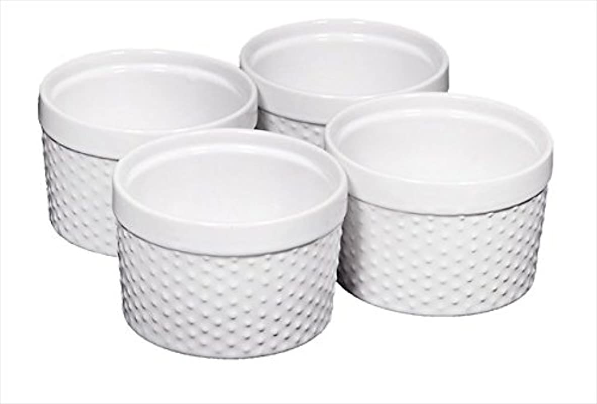 Home Essentials Set Of 4 Mini Stoneware Hobnail 6 Oz Ramekins Textured Porcelain Mousse Creme Brulee Custard Cups Baking Souffles Quiche Cups White 4 Inches