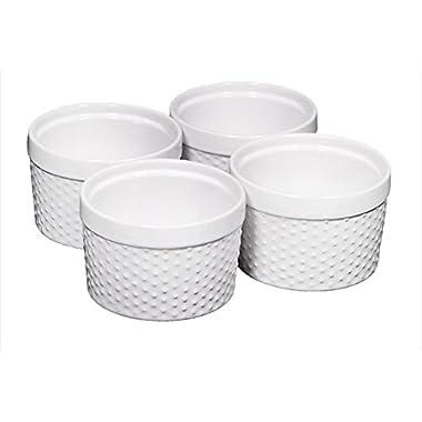 Home Essentials Set of 4 Mini Stoneware Hobnail 6 oz Ramekins - Textured Porcelain, Mousse, Creme Brulee, Custard Cups, Baking, Souffles, Quiche Cups, White - 4 Inches