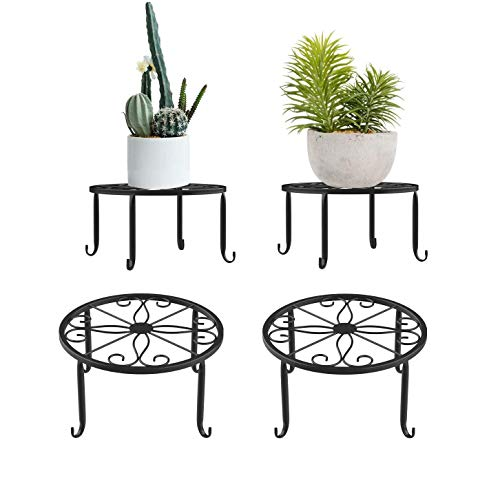 2 Plant Flower Pot Stands, Metal Round Iron Pot Stand, Durable Rust-Proof Indoor and Outdoor Flower Pot Stand, Round Shelf for Garden Decorations (Black)