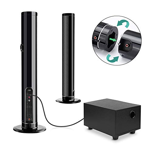 Soundbar mit Subwoofer, Fityou Bluetooth 5.0 Soundbar mit 6 Lautsprecher für TV mit (AUX, USB, RAC, Faser, Surround Sound), Separate Wandhalterung, 50W für Heimkino/TV/Mobile/PC, Schwarz