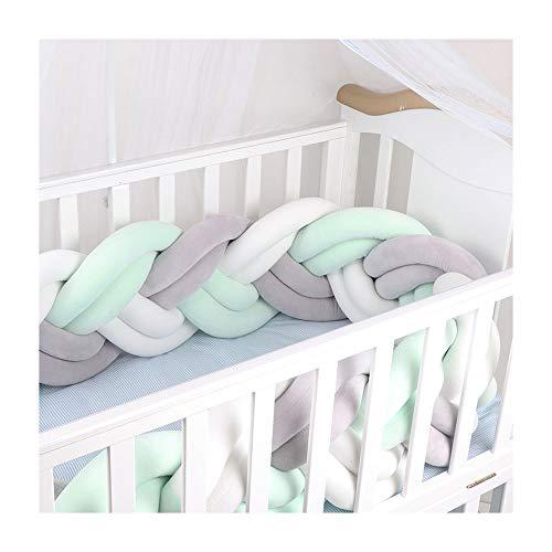 TAYNBYLN 6 Strands Protectores para Cunas Camas De Bebé,Cuna Trenzada Parachoques,Soporte De Parachoques Alrededor De Protección Bed Sleep Rails,B,3M