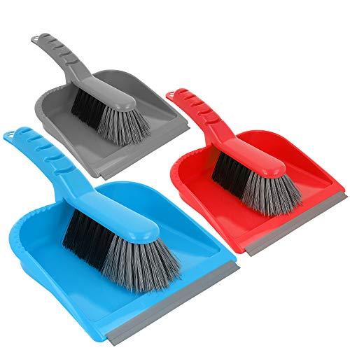com-four® 3X Kehrgarnitur - Kehrset bestehend aus Handfeger und Kehrschaufel - Handbesen in bunten Farben - Schaufel mit Gummilippe (03 Stück - blau.grau.rot)