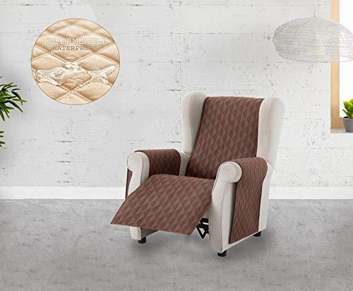 Textilhome - Funda Cubre Sofá Circus -1 Plaza - Relax - Protector para Sofás Acolchado Color Marrón