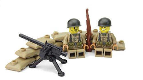 US MG Stellung mit M1919 | Zwei amerikanische Soldaten mit BrickArms Helm und Ausrüstung | Bedruckte Figuren
