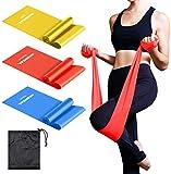 oundeal bande elastiche fitness, set di 3 banda elastica fasce resistenza, fascia elastica esercizi, ideale per terapia fisica, yoga, pilates, riabilitazione, allenamento