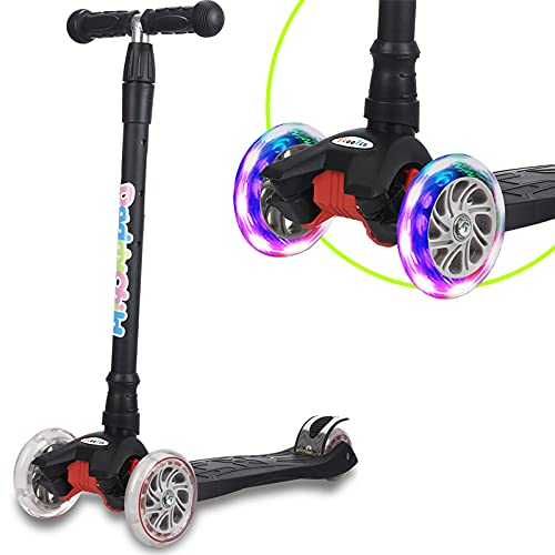 Scooters for Kids 3 Wheel Kick Scooter for Toddlers Girls & Boys, 4 Adjustable Height, Lean to Steer, Extra-Wide Deck, Light Up Wheels for Children from 3 to 14 Years Old