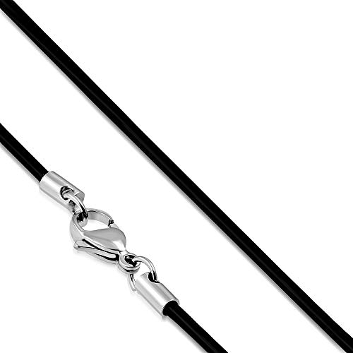 BlackAmazement Gummi Rubber Kautschuk Kette Band Halskette 50 cm 2 mm stark schwarz Karabinerverschluss Edelstahl Herren Damen