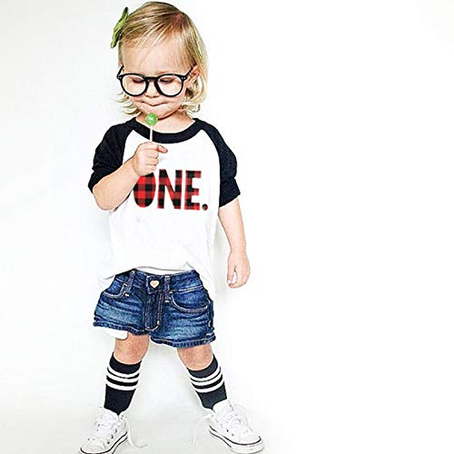 BianchiPamela Loose Three Quarters Sleeves T-Shirt with Fashion Letters Print for Boy Girl