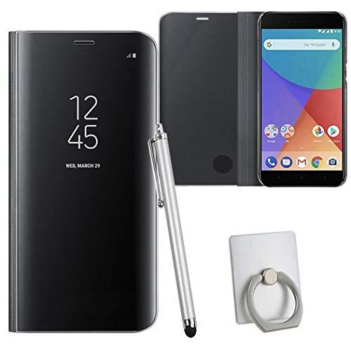 pinlu® Hülle Compatible with Xiaomi Mi A1 Smartphone Spiegel Reflektierende Wirkung Cover Leder Tasche Schutzhülle Flip Grad Klapphülle Handytaschen schwarz