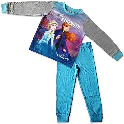 Disney Frozen, set di 2 pigiami ufficiali per bambine, Anna Elsa - cotone di qualità con licenza del personaggio7-8 Anni