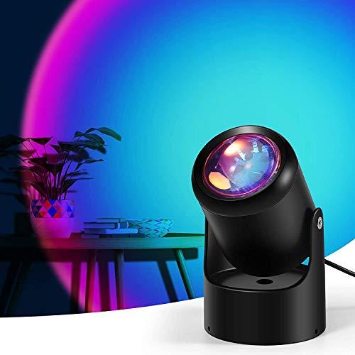 Aibeau Sunset Lamp, Sunset Projektion LED-Licht mit 180 ° Drehbar Romantisches Visuelles Sonnenuntergang Projektion Lampe für Schlafzimmer Wohnzimmer Party Bar Store