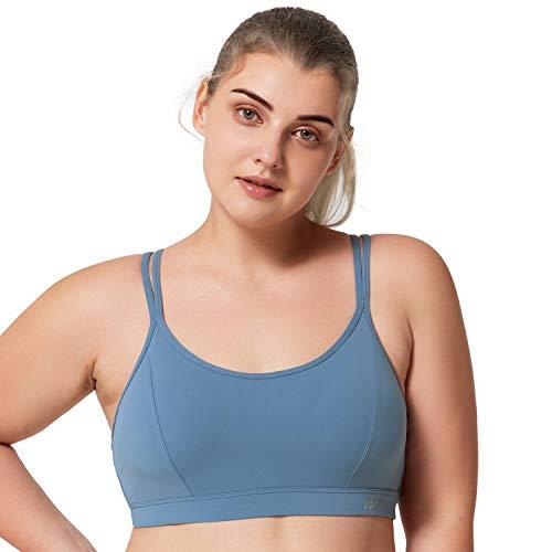 Yvette Damen Mitteler Halt Sport BH Gekreuzt Rücken Dünne Träger Bustier Für Yoga, Pilates, Schwimmen, Blau, 2XL(D-F)
