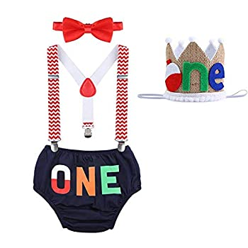 The Big One Baby Boy Cake Smash Outfit O-Fish-Ally One Little Fisherman Gone Fishing Bobber Toddler Boys Suspender Pants Bow Tie Supplies for Baby Boy First 1st Birthday Party Clothes Set 12-18 Months