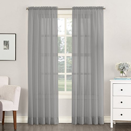 """No. 918 53566 Emily Sheer Voile Rod Pocket Curtain Panel, 59"""" x 84"""", Charcoal"""