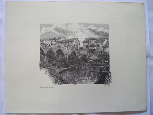 Litografía - Lithography : PUENTE ARMIÑÓN - AÑANA (Alava)